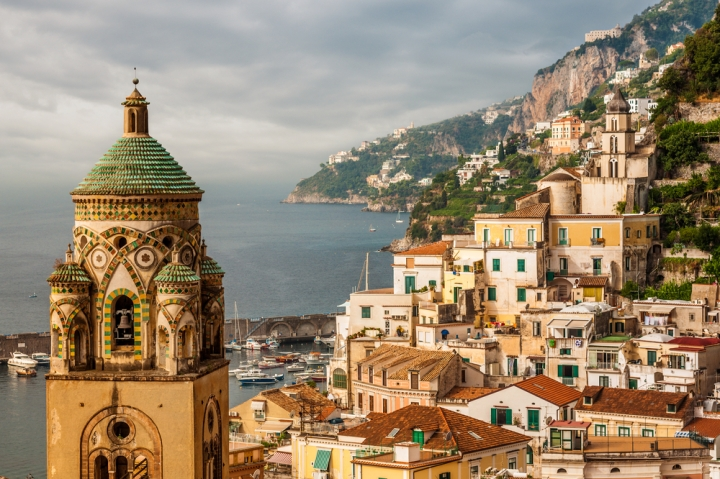 View of the town of Amalfi from behind Duomo