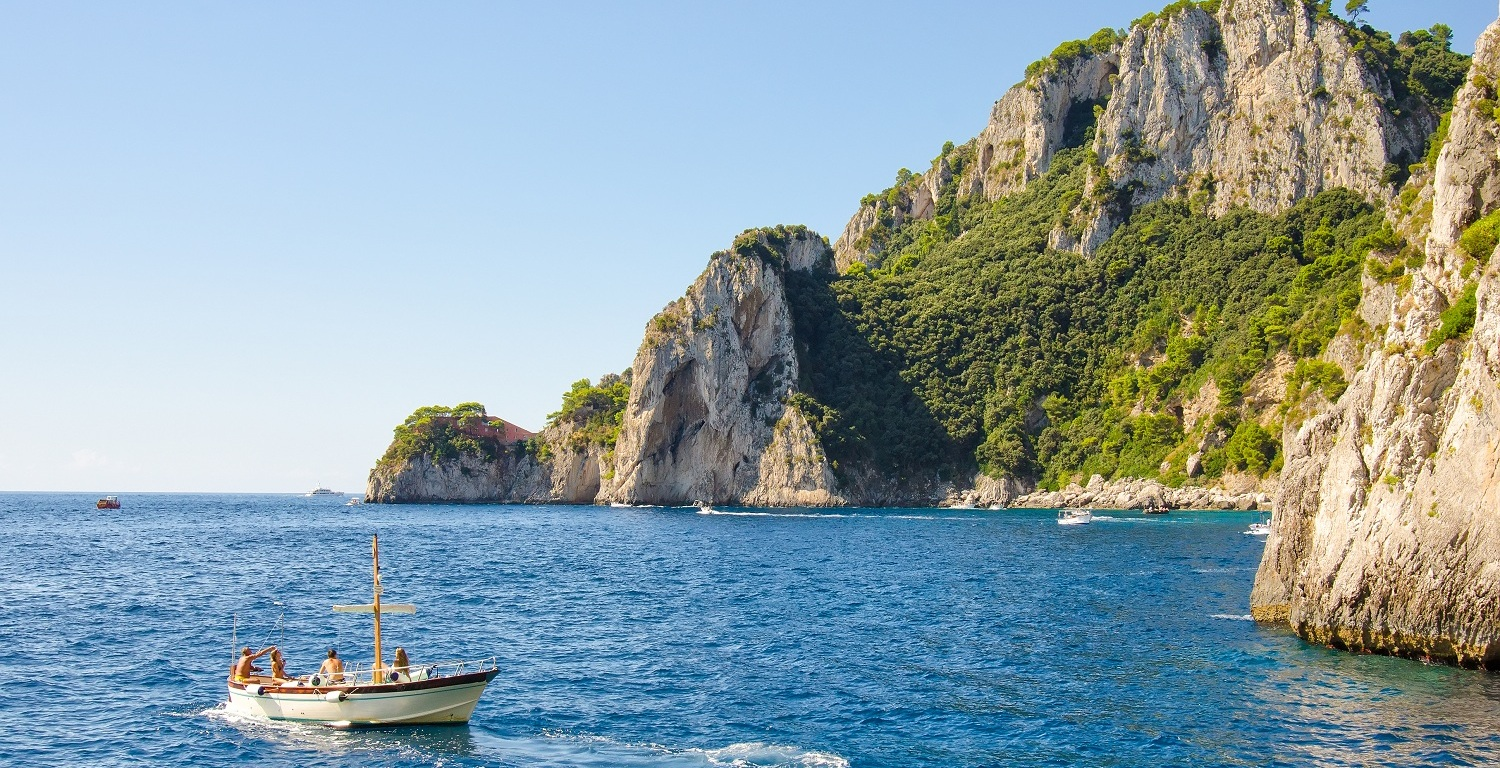 boat at sea along amalfi coast