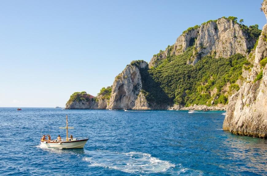 boat at sea along amalfi coast